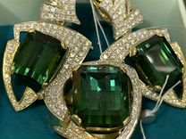 Комплект кольцо и пара серег турмалины и бриллиант