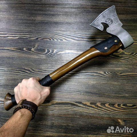 Топор ручной работы (Сталь хвг, ясень, кожа) 50 см