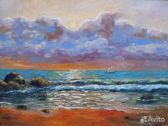 Картина Море. Тучи. Холст на картоне/масло, 30х4 89179297230 купить 1