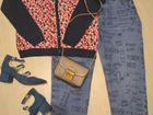 Джинсы с рисунком, джинсы синие, кардиган