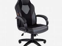Кресло игровое сн Game 17, экокожа/ткань черно-сер